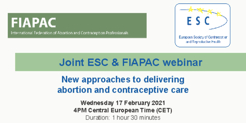 Gravação - Joint ESC & FIAPAC webinar: New approaches to delivering abortion and contraceptive care